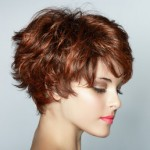 From the hairstyles gallery a short auburn hairstyle with soft bangs above the eyes