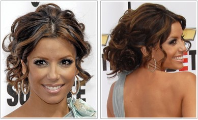 Eva Longoria Parker curly pony tail hairstyle