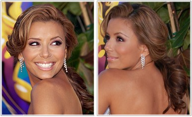 Eva Longoria Parker with a simple wavy pony tail hairstyle