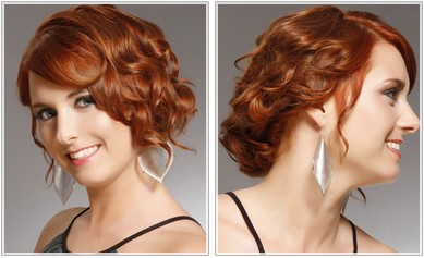 Medium length updo evening hairstyle with curls