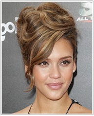 Jessica Alba with a volumous beautiful updo and side swept bangs