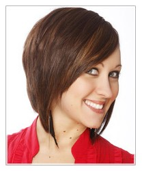 Brunette short layered bob hairstyle with side swept bangs