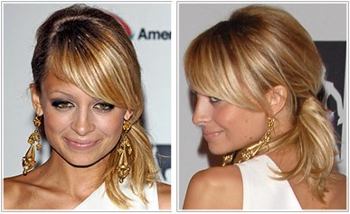 Nicole Richie Ponytail hairstyle straight strands and back combing.