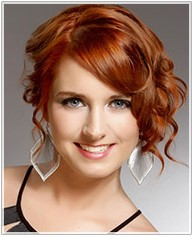 Red hairstyle side swept bangs