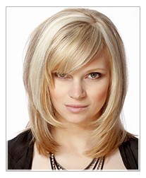 Medium length blonde textured layered hairstyle with side swept bangs