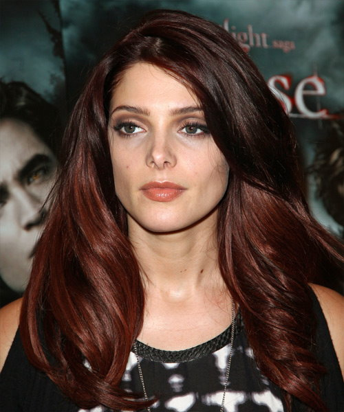 Ashley Greene Long Wavy Casual Hairstyle - Dark Red and Red Two-Tone Hair Color