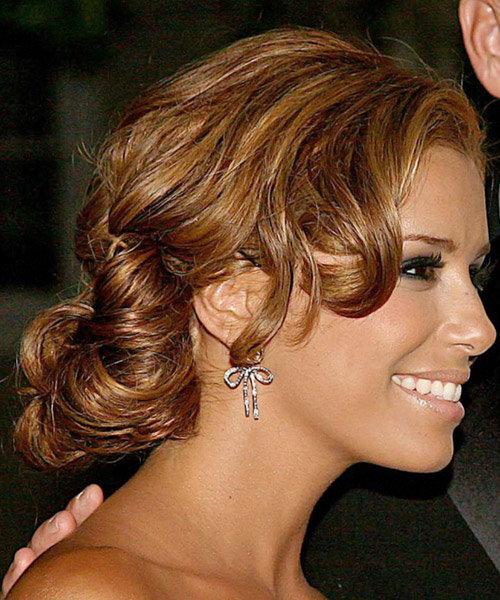 Eva Longoria Parker Long Curly Formal Updo Hairstyle - Light Auburn Brunette Hair Color
