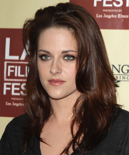Kristen Stewart Long Straight Casual Hairstyle - Dark Brunette Hair Color