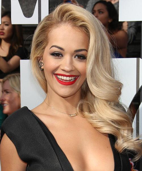 Rita Ora platinum blonde bomb shell hair