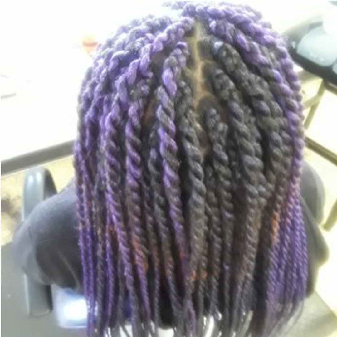 Box Braids Purple on Medium Length Hair back view