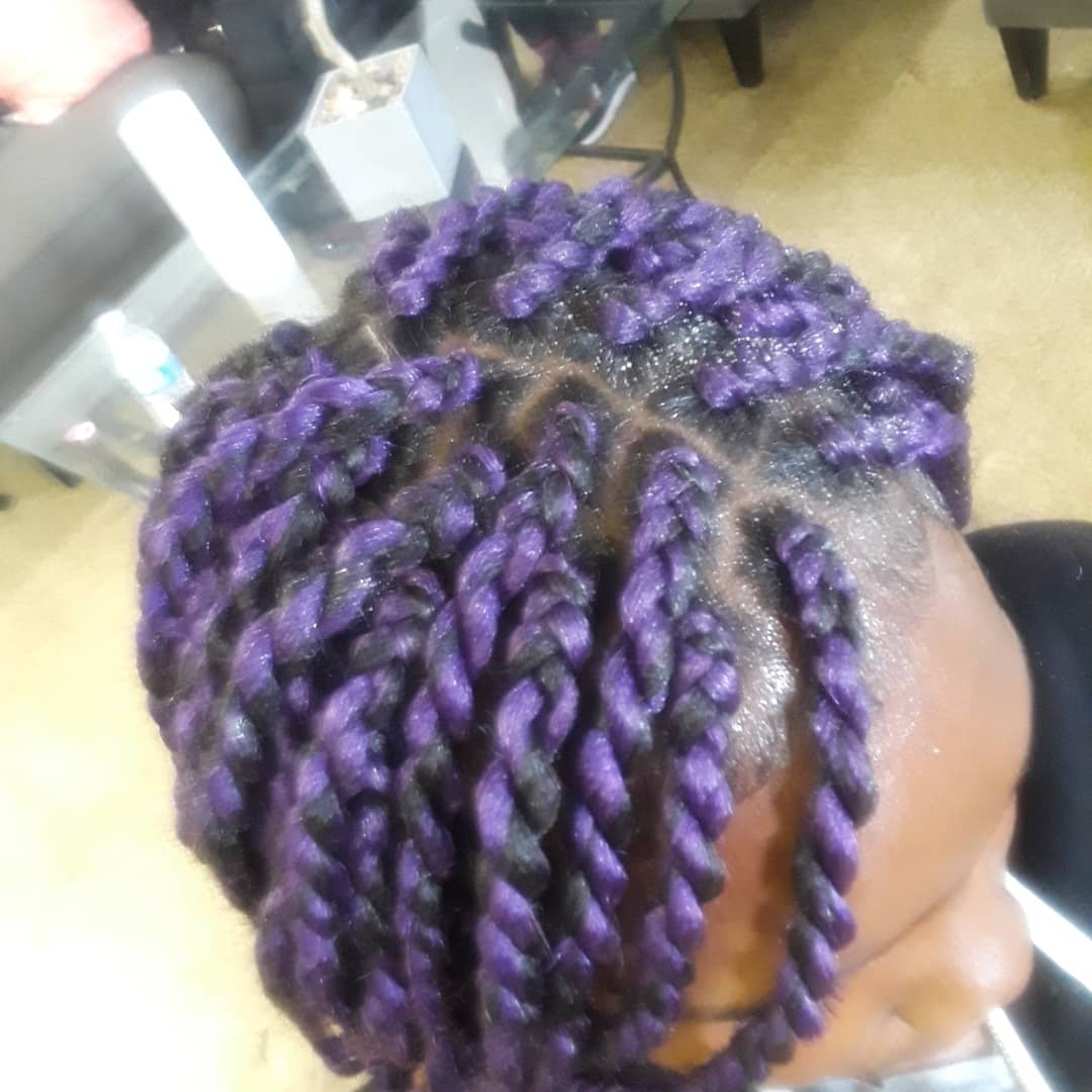 Box Braids Purple on Medium Length Hair top view 2