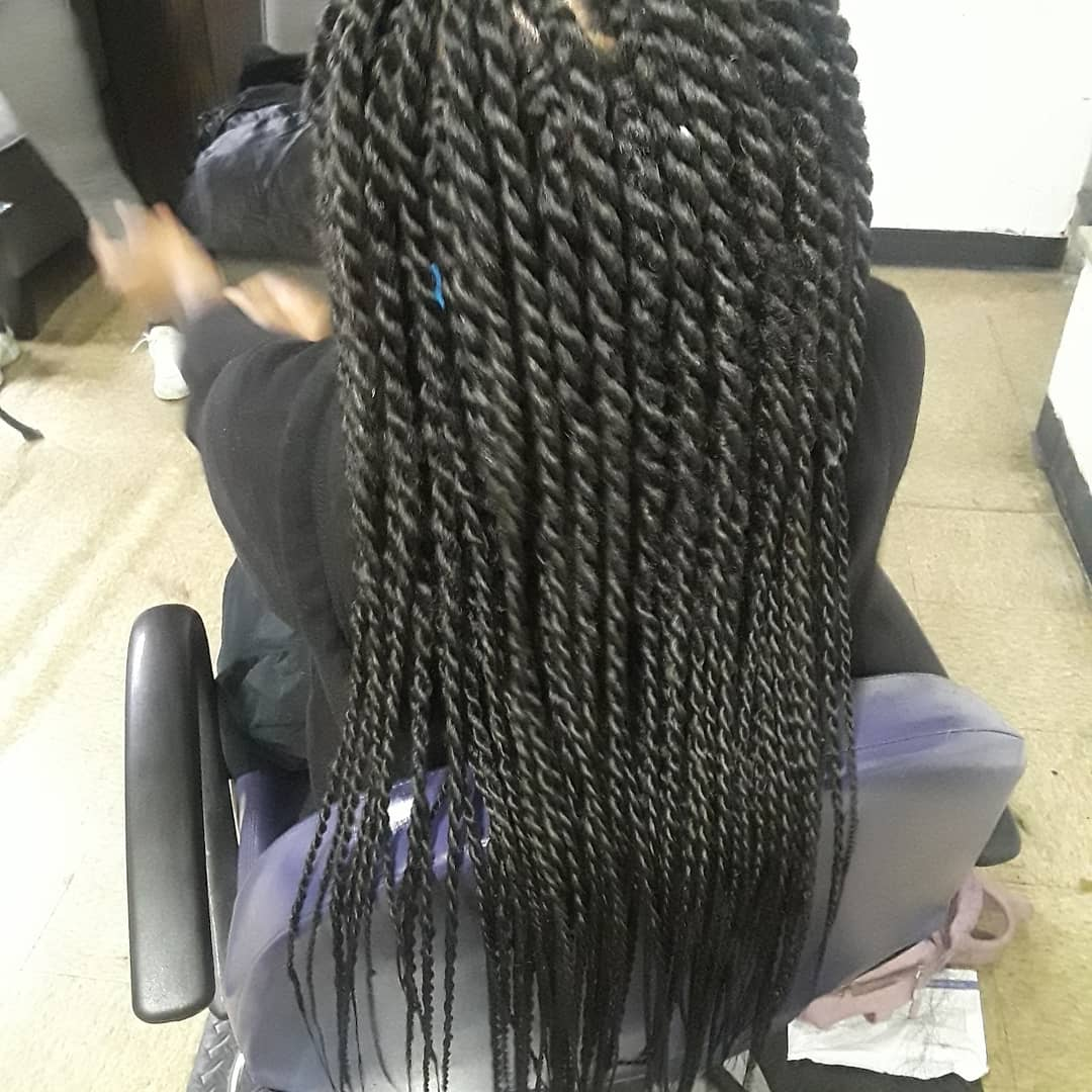 Box Braids Woman Long Hair back view