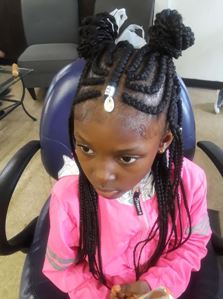 Young Girl Tribal Braids with Ribbon and Jewelry Accents