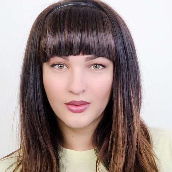 Girl with a full fringe hairstyle