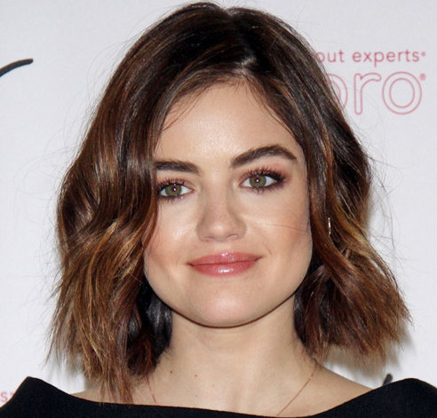 Lucy Hale with med length bob