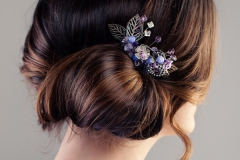 Bridal or Prom Hairstyle. Beautiful Woman with Brown Hair and Hairdeco, Back View